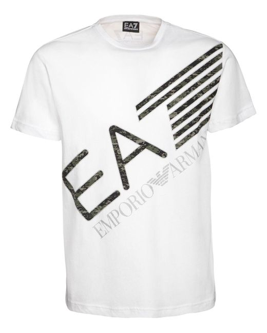 メンズ EA7 コットンジャージーtシャツ White