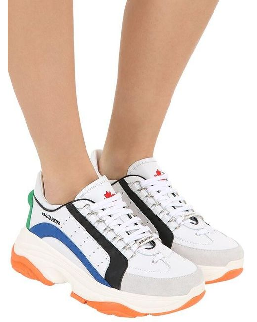 341bf5326 DSquared² 60mm Bumpy 551 Leather Sneakers in White - Save 30% - Lyst