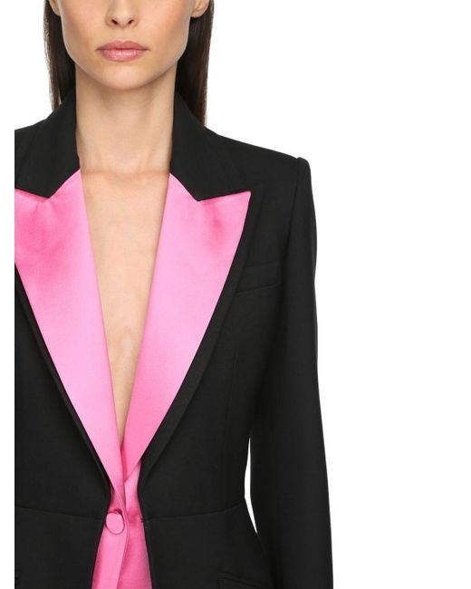 Пиджак Из Шелка И Атласа Alexander McQueen, цвет: Black