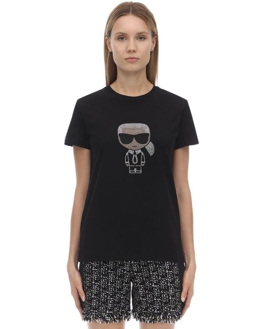 Karl Lagerfeld コットンジャージーtシャツ Black