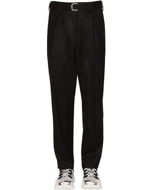 メンズ Valentino ウール混 ベルテッドパンツ Black
