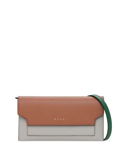 Кожаная Сумка-кошелек Marni, цвет: Brown