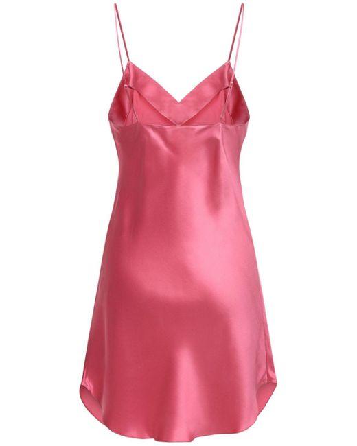 Luna Di Seta シルクサテンスリップドレス Pink