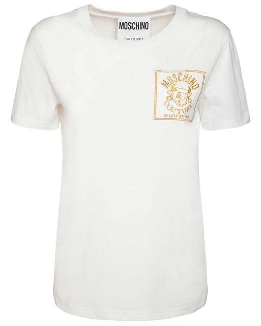 Футболка Из Хлопкового Джерси С Логотипом Moschino, цвет: White