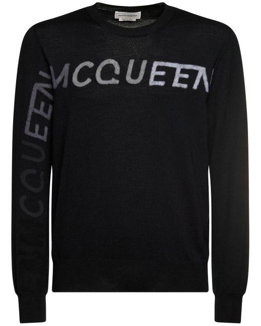 Sudadera De Lana Con Logo Alexander McQueen de hombre de color Black