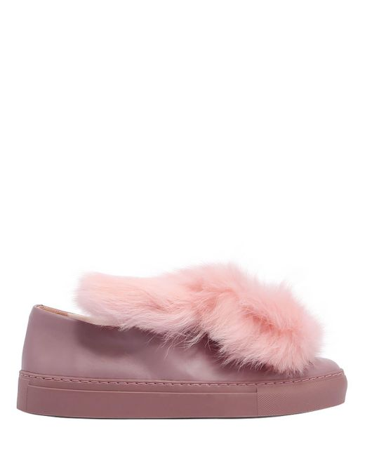 Minna Parikka - Pink 20mm Bunny Face On Leather Sneakers - Lyst