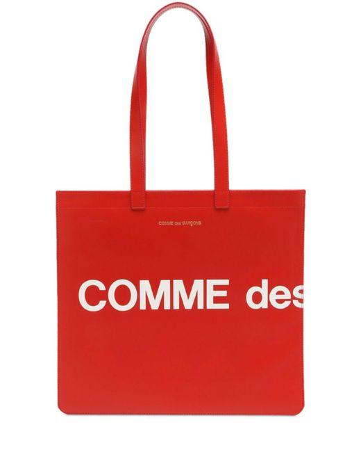 Comme des Garçons Huge Logo レザートートバッグ Red