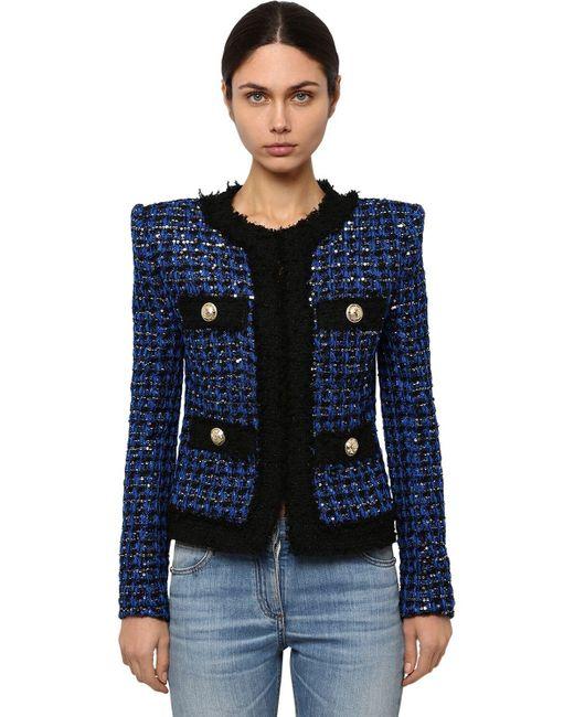 Твидовый Пиджак Balmain, цвет: Blue