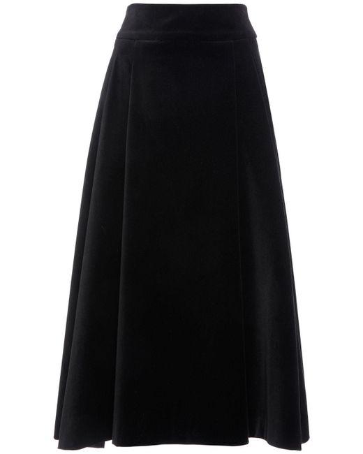 Юбка Из Хлопкового Бархата Max Mara, цвет: Black