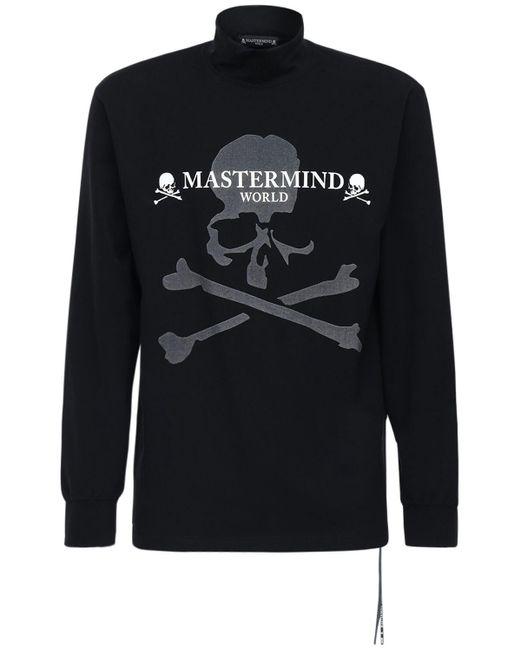 メンズ MASTERMIND WORLD コットンロングtシャツ Black