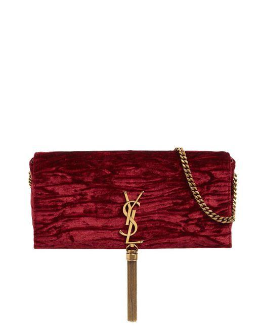 Бархатная Сумка Kate 99 Saint Laurent, цвет: Red
