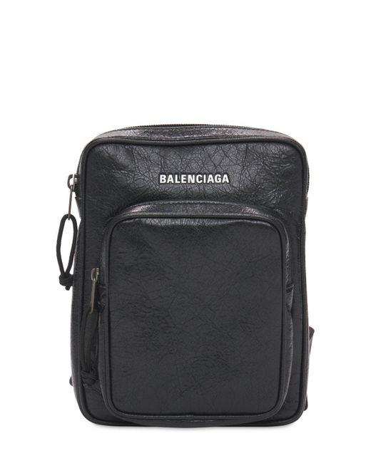 メンズ Balenciaga レザークロスボディバッグ Black