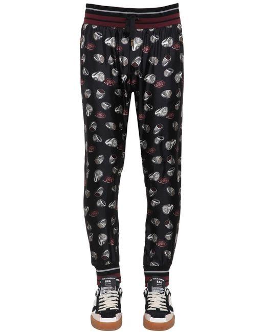 メンズ Dolce & Gabbana Ring シルクツイルジョギングパンツ Black