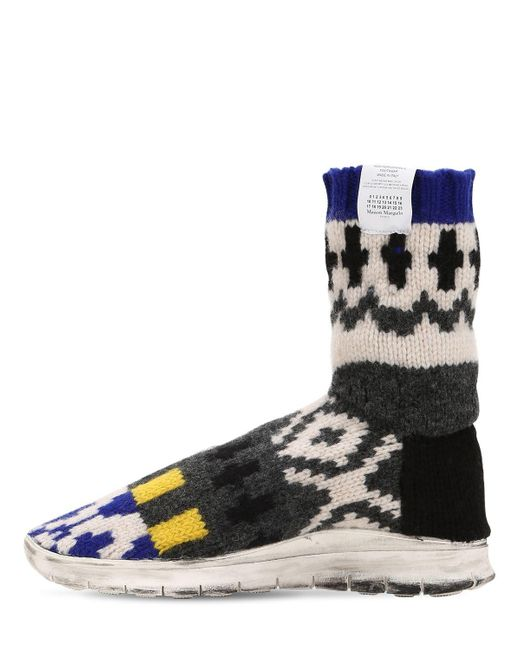 Maison Margiela SOCK JACQUARD KNIT HIGH TOP SNEAKERS