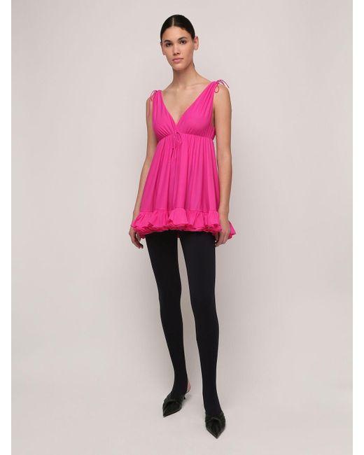 Balenciaga フリルジャージーミニドレス Pink