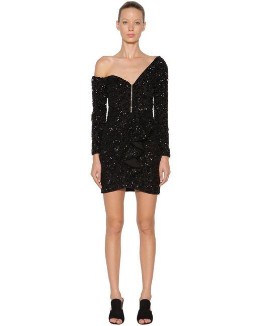 Self-Portrait Black Sequin Embellished Ruffle Mini Dress