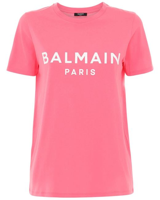 Camiseta De Jersey De Algodón Con Logo Balmain de color Pink