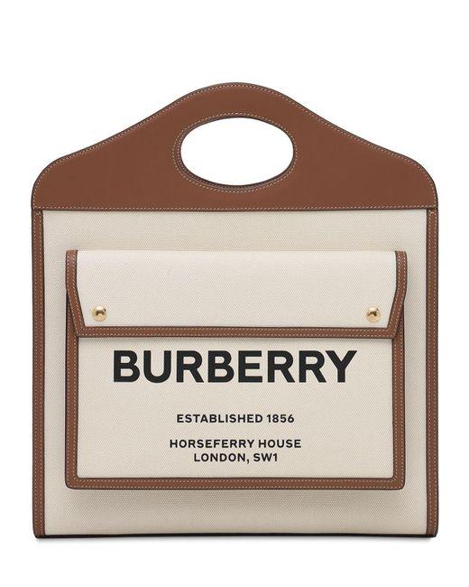 Сумка Из Кожи И Канвас С Логотипом Burberry, цвет: Natural