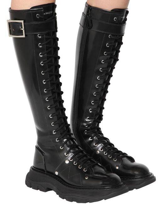 Высокие Сапоги Из Кожи 40мм Alexander McQueen, цвет: Black