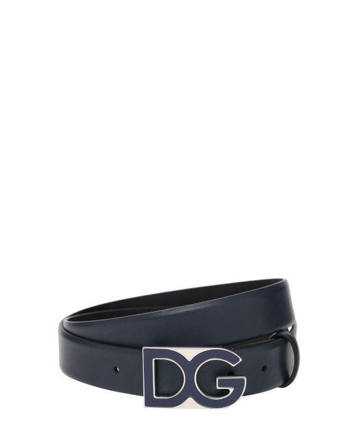 メンズ Dolce & Gabbana Dg レザーベルト 30mm Blue