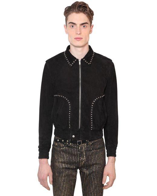 メンズ Saint Laurent スエードジャケット Black