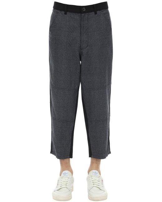 メンズ Comme des Garçons ウールハウンドトゥース&梳毛ウール パンツ Black