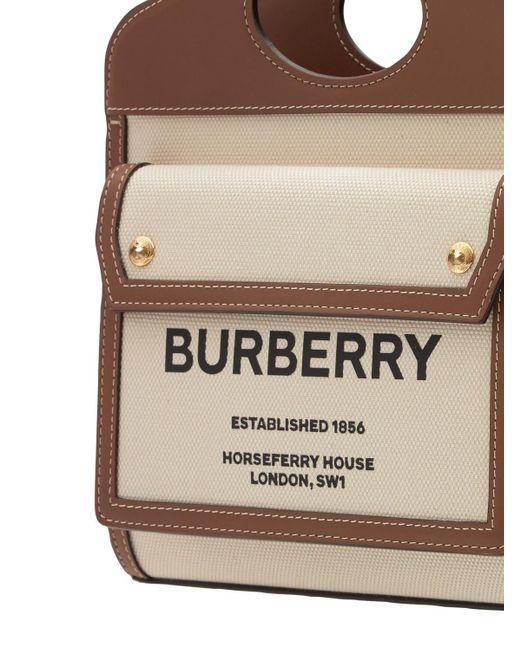 Кожаная Сумка Из Канвас С Логотипом Burberry, цвет: Brown