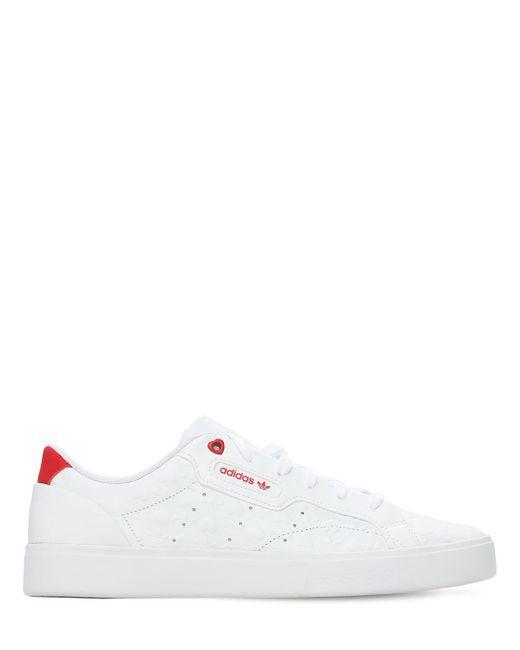 """Adidas Originals White Ledersneakers """"valentines Sleek"""""""