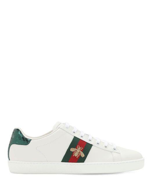 """Кожаные Кроссовки """"new Ace"""" С Вышивкой Gucci, цвет: White"""