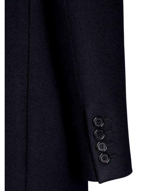 Двубортное Пальто Из Шерсти И Кашемира Saint Laurent для него, цвет: Black