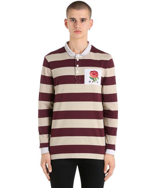 メンズ Kent & Curwen Rose ラグビーコットンポロシャツ Red