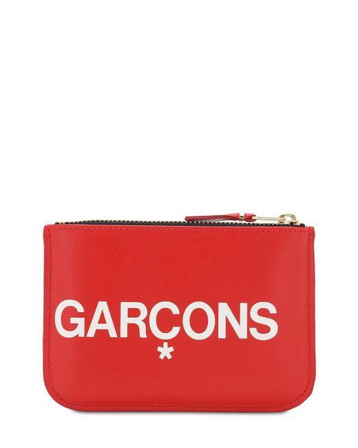 Comme des Garçons Huge Logo レザーウォレット Red
