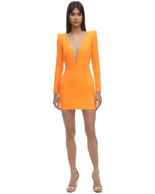 Платье Из Атласного Крепа Alex Perry, цвет: Orange