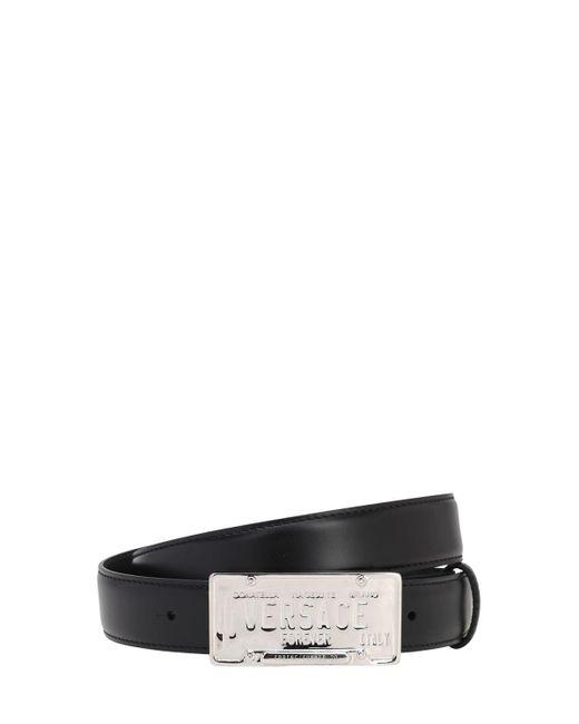 メンズ Versace レザーベルト 30mm Black