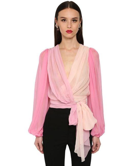 Рубашка Из Шелкового Атласа Dolce & Gabbana, цвет: Pink