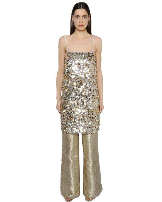 Gianluca Capannolo - Metallic Sequined Crepe Tunic Dress - Lyst