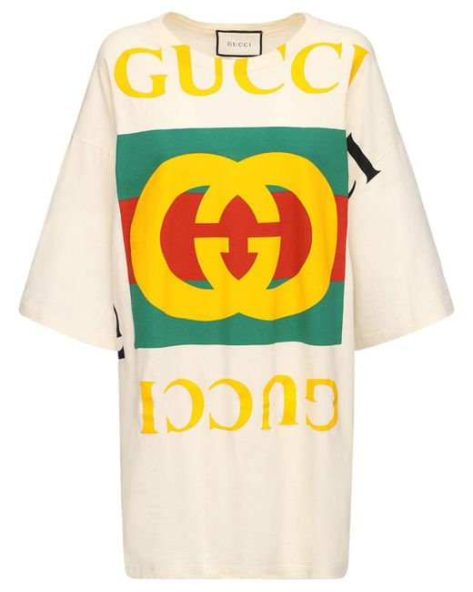 Платье-футболка Из Хлопка С Принтом Gucci, цвет: Yellow