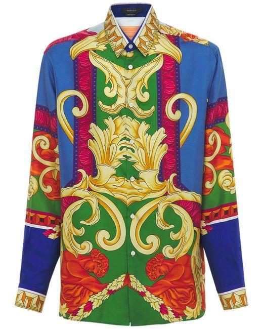 Шелковая Рубашка С Принтом Medusa Renaissance Versace для него, цвет: Multicolor