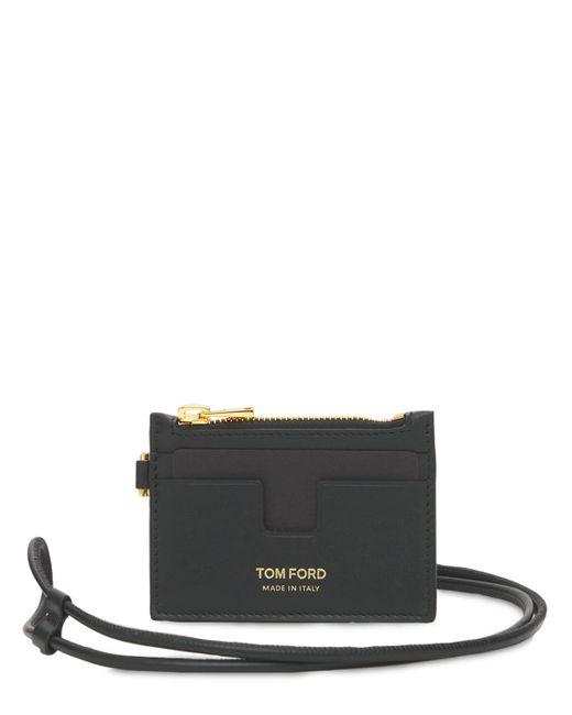 メンズ Tom Ford レザージップカードホルダー Black