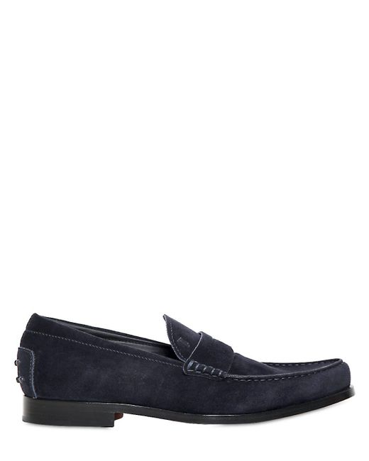 Tod's | Blue Boston Light Suede Loafers for Men | Lyst