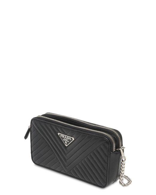 eb43c9e30795 ... Prada - Black Quilted Nappa Leather Shoulder Bag - Lyst ...