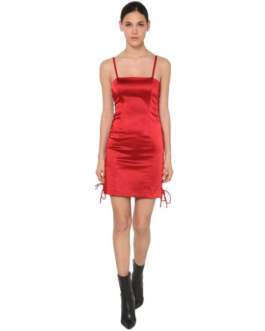 Короткое Платье Из Атласа Unravel Project, цвет: Red
