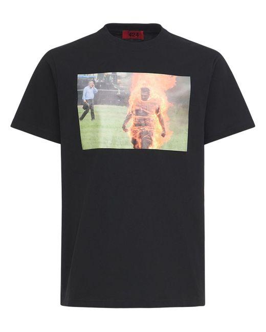 メンズ 424 Fire コットンtシャツ Black