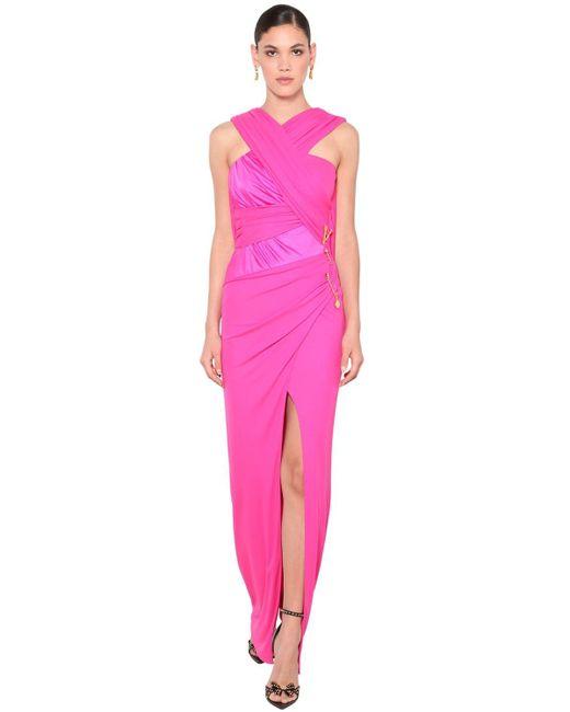 Платье Из Джерси Стрейч Versace, цвет: Pink