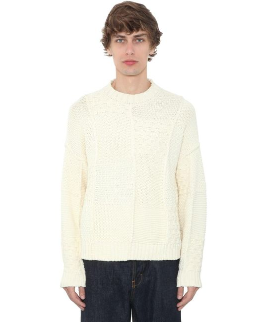 J.W. Anderson White Patchwork Cotton Knit Sweater for men