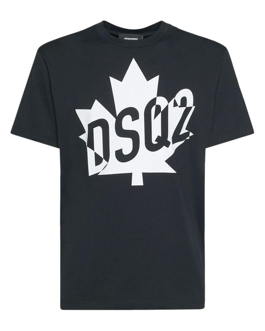 T-shirt In Jersey Di Cotone Con Stampa di DSquared² in Black da Uomo