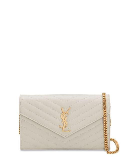 Saint Laurent White Medium Quilted Monogram Bag