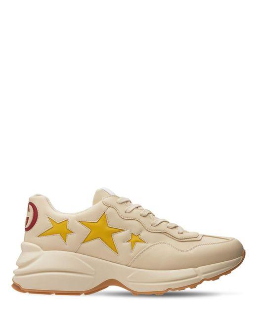 Кожаные Кроссовки С Принтом Gucci для него, цвет: White