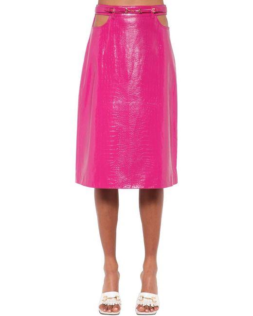 Dodo Bar Or Perla レザースカート Pink
