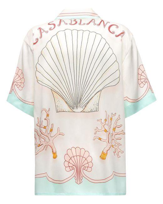CASABLANCA Les Coquillages シルクサテンシャツ White